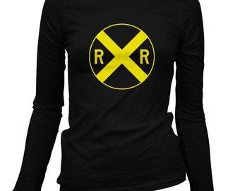 Women's Railroad Crossing Long Sleeve Tee - S M L XL 2x - Ladies' Railroad T-shirt, Railway, Railfan, Transit, Train - 3 Colors
