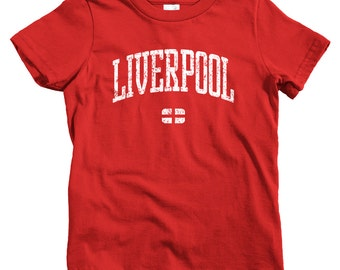 Kids Liverpool T-shirt - Baby, Toddler, and Youth Sizes - Liverpool England Tee, UK - 4 Colors