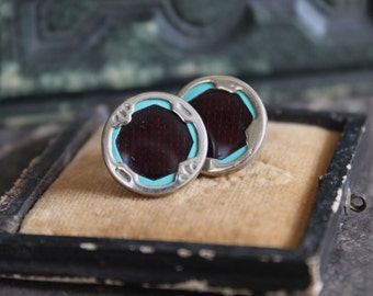 Antique cufflink earrings, celluloid,blue, deep red, post, jewelry, vintage, 1920's, bridal blue, art deco,