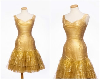 Glittering 50s dress // Vintage RARE Gold Frederick's of Hollywood Mermaid Lace Dress Small