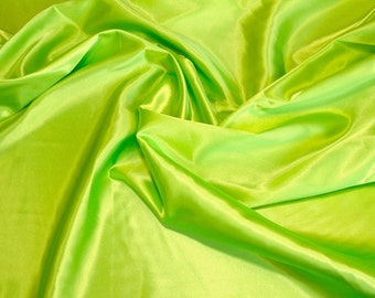 Lime Green Charmeuse Satin Fabric by the yard