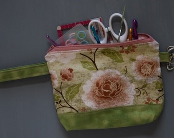 Notions Pouch-green and floral