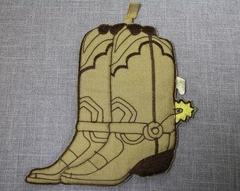 Vintage Cowboy Boot Potholder - Hot Pad - Western Kitchen Decor