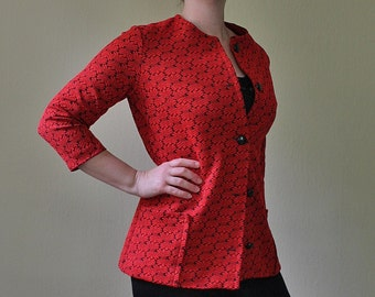 Vintage Red Blazer - Red Jacket - Red and Black Blazer - Vintage Office Blazer - Office Attire - Button Up - Professional