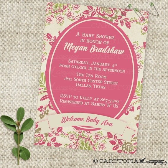 Victorian Rose and Banner Girl Baby Shower Invitation Digital Printable File with Professional Printing Option
