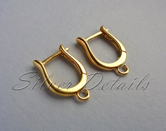 Original Shape 24k Gold Vermeil over Sterling Silver Euro Leverbacks Ear Hooks 925 model ES8 AU
