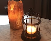 Vintage small votive tea light candle holder bmsck metal lanterm like can ne hung from ceiling