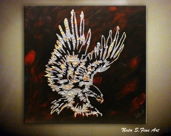 """Silver Eagle Painting Metallic Abstract Modern Textured Mosaic Art Interior Decor Large Artwork 30"""" x 30"""" Home & Office Decor by Nata S."""