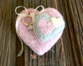 Wedding Ring Pillow Engagement Heart Proposal Pillow Wool Felted  Gift Pillow Will You Marry Me Blush Pink Gray Ivory