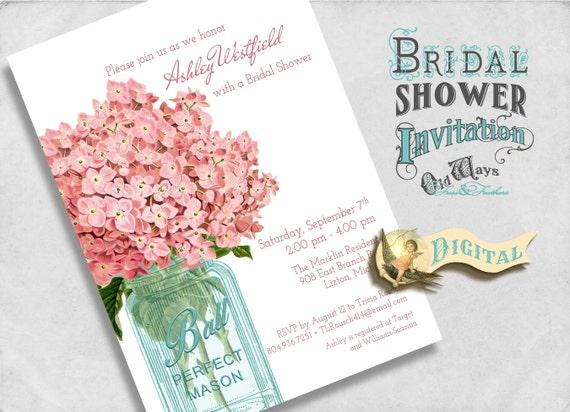 Pink Bridal Shower Invitation, Hydrangeas in a Mason Jar, Vintage Rustic Chic - Custom Printable Bridal Shower Invite 5x7 Digital File