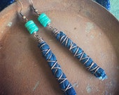 Turquoise, Denim & Copper Wire Wrapped Boho Dangle Earrings - Fabric Earrings - Repurposed Jewelry - Upcycled Jewelry - Eco Friendly