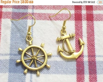 Asymmetrical Antiqued Gold Plated Ship Wheel and Anchor Pierced Dangle Earrings, Beach Earrings, Beach Jewelry, Nautical Anchor