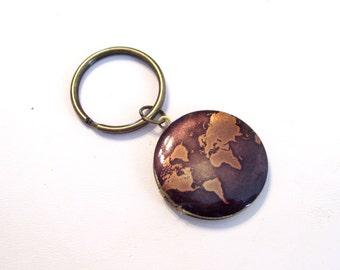 Map Locket Key Chain, Globe Art Image Locket, Continents Locket, World Traveler, Round Brass Locket, Antiqued Brass Plated Key Ring