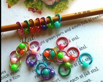 20 Rainbow Sock knitting stitch marker rings 4mm/ US 6 needles