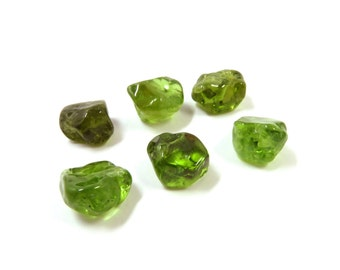 Peridot Crystal Earring DIY Kit 2 Crystals 10mm - 13mm and 2 Earring Blanks 6mm Tumbled Natural Green Stones  (Lot EK01) Olivine