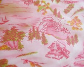 Vintage 50s Pink Asian Print Cotton Fabric Remnant 2.2 Yards