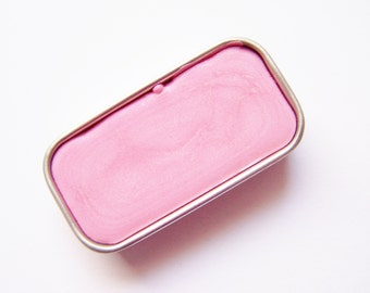 Pink Shimmer Mineral Lip Color - Zero Waste Lipstick In A Tin - Vegan Mineral Makeup -  Cruelty Free Cosmetics