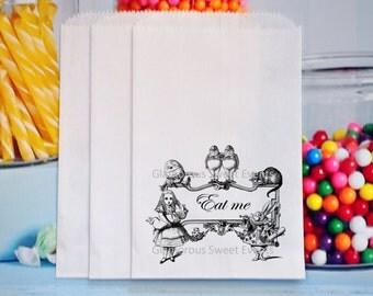 Alice In Wonderland Favor Bags, Alice In Wonderland Treat Bags, Alice In Wonderland Goody bags, White Rabbit Favor Bags