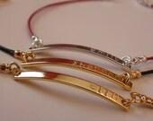 Monogram Bracelet, Elegant Leather Coated Name Bracelet, Small Charm Bracelet, Wedding gift,Bridesmaids gift,Flower girl gift,Christmas gift