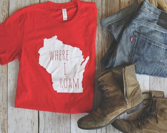 WI Where I Roam ADULT unisex red  t shirt
