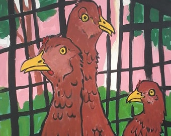 "Chickens 3, 18"" x 24"" original painting on canvas"