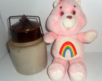 CLEARANCE, Care Bear ,Original Care Bear, Vintage Pink Rainbow Care Bear,
