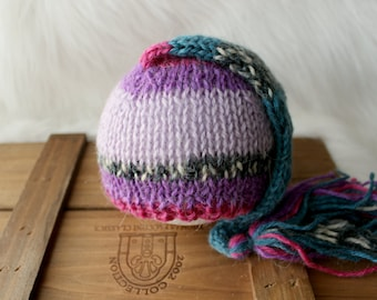 ready to ship, newborn photography prop, purple teal pink cone elf gnome long hat 0-2 weeks baby shower gift boy prop