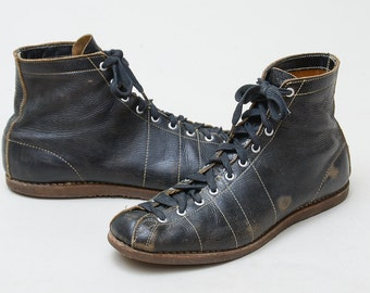 1930s Leather Boxing Boots Blue Leather Lace Up Boxer Athletic Shoes