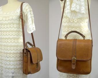 Vintage Satchel Purse Crossbody Brown Saddle Leather Classic Messenger Style Shoulder Bag