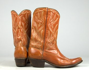 1950s ACME Brown Leather Pee Wee Country Western Cowboy Boots Womens 7.5