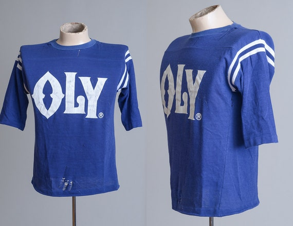 70s oly beer athletic style olympia blue cotton t shirt. Black Bedroom Furniture Sets. Home Design Ideas
