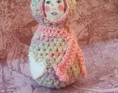 Anjali Eldritchscythe - handmade folk art fiber amigurumi doll.