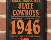 Oklahoma State Cowboys Basketball - OSU Classic Vintage Style Broadside Plaque Sign  - Officially Licensed Product - OKSU2