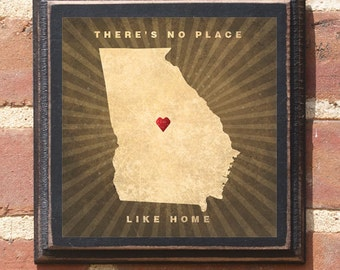 "Georgia GA ""There's No Place Like Home"" Wall Art Sign Plaque Gift Present Personalized Color Custom Location Atlanta Athens Savannah Antique"