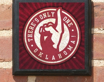 Oklahoma Sooners Only One Square Wall Art Sign Plaque Gift Present Home Decor Vintage Style Classic Boomer Sooner Athletic Teams OK OU