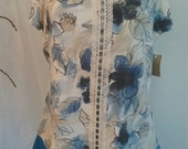 Large Upcycled Blue Flower Women's Shirt with Lace