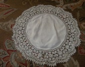"""Vintage  Linen Tablecloth ...23"""" ROUND..Good Condition...Hand Made Lace...Free Shipping"""