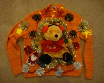 fast shipping deb woman's ugly christmas sweater p med winnie the pooh tacky winnerf ast shipping