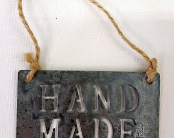 Small Metal 'Handmade' Sign - East of India Hanging Decoration - Craft Stall Shop Gift