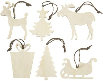 Plain Christmas Decorations - Wooden Shapes Set of 6 - Tree Reindeer Moose Present Sleigh