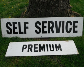 Vintage Double Sided Metal Sign - Service Station - Gasoline - Self Service