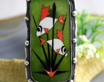 Statement Ring Piranhas Mosaic Ring Sterling Silver Jewelry
