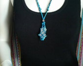 """Shorenaments original OOAK """"Catch my drift ~ knotical Net necklace"""" in Pacific bohemian loveliness in hues of blues"""