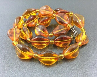 Antique Smooth Fine Amber Glass Bead Necklace. Shapely Early Glass Necklace. Quality Old Glass Honey Orange Beads.