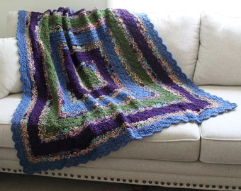 Blue Green Purple Throw Blanket - Crochet Square Afghan - Bed Throw - Couch Blanket