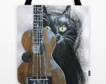 Ukulele, Hawaiian guitar , funny cat image, original painting tote bag, designer product