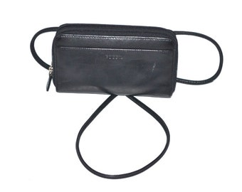 90s vintage designer black leather small purse by Fossil  wallet  shoulder crossbody bag unisex bag small travel bag cell phone holder