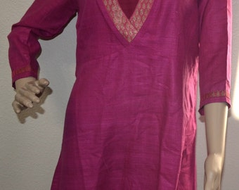Vintage  Fabindia 90s hot pink tunic dress, silk dress made in India, Size small dress, natural fabric dress