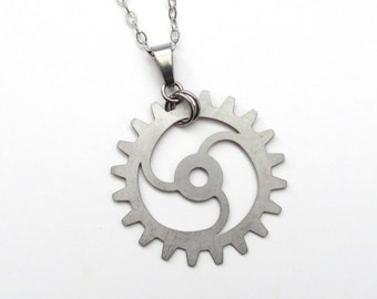 Gear pendant, stainless steel jewelry, steampunk pendant necklace, minimalist jewelry