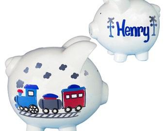 Hand Painted Personalized Train Piggy Bank for Boys Piggy Bank Classic White Ceramic Piggie Bank piggybank Thomas Nursery PIGG-whi-TRAIN-new